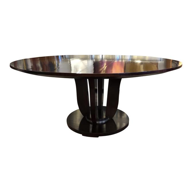 BARBARA BARRY FOR BAKER ROUND PEDESTAL DINING TABLE MAHOGANY SOLIDS AND VENEER/BLACK LACQUER/ DINING CHAIRS AVAILABLE