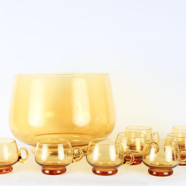 Vintage Amber Yellow Glass Punch BowlSet of 9, Amber Yellow, Punch Bowl Set, Mid Century, by 1882BlueVintage