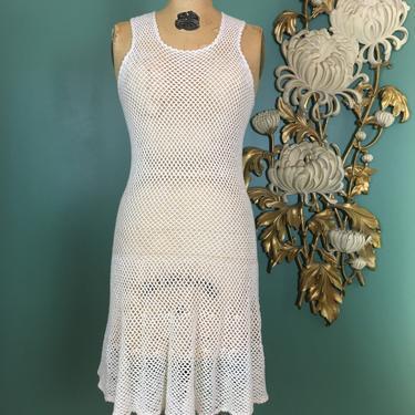 1960s mini dress, ivory crochet, vintage 60s dress, sleeveless, mod, see through, open knit, size small, flapper style, a line, drop waist by BlackLabelVintageWA