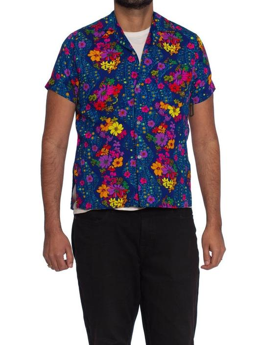 1960S Blue Floral Cotton Barkcloth Men's Hawaiian Shirt by SHOPMORPHEW