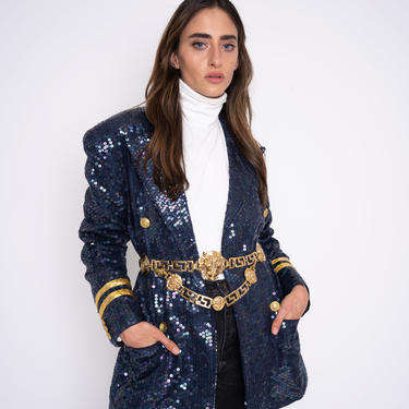 Vintage Sequin blazer, sequin holidayl blazer by LEW Magram band jacket, nautical blue and gold beaded women's dress coat large xl 12 14 by ShopRVF