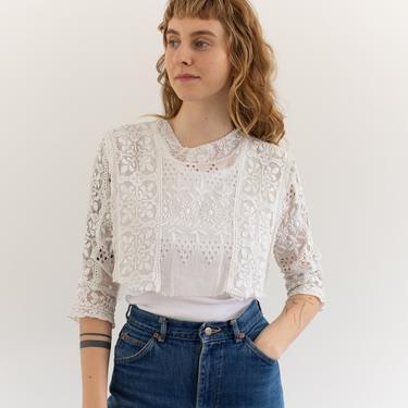 Vintage Victorian White Cotton Cropped Blouse   Eyelet Edwardian Shirt   Antique   XS S   by RAWSONSTUDIO
