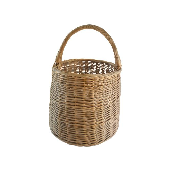 Extra Large Vintage Handwoven Rattan Round Basket With Handle by MetronomeVintage
