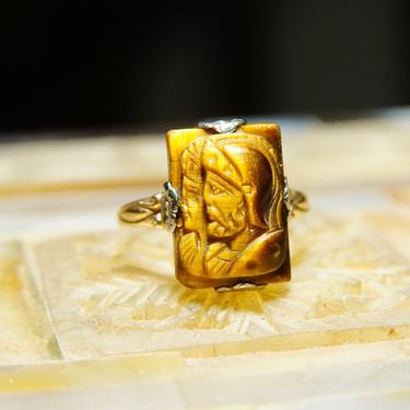 Vintage 10k Gold Tiger's Eye Cameo Ring, Carved Tigers Eye, Size 6 US by shopGoodsVintage