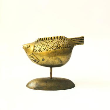 Vintage Large Brass Fish Sculpture on Stand by SergeantSailor