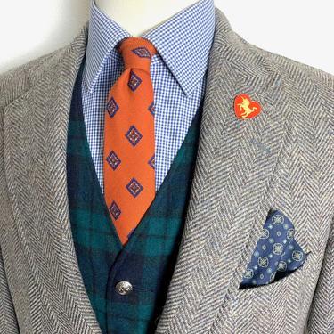 Vintage NORDSTROM 100% Wool TWEED Blazer ~ 38 R ~ Herringbone jacket / sport coat ~ Preppy / Ivy League / Trad ~ by SparrowsAndWolves