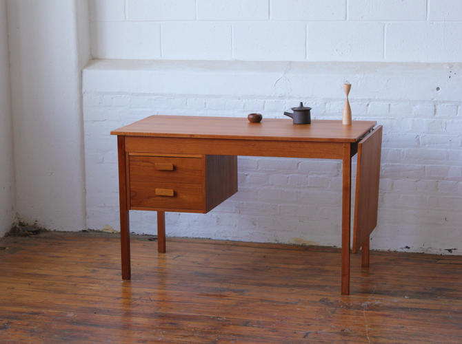 Danish Teak Desk with Sliding Extension Top by NijiFurnishing