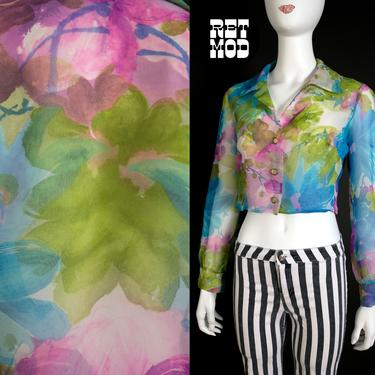 Ethereal Vintage 60s 70s Purple Blue Green Floral Sheer Crop Top Blouse by RETMOD