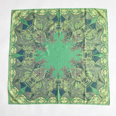1990s Liberty Celadon Art Nouveau Floral Silk Scarf by waywardcollection