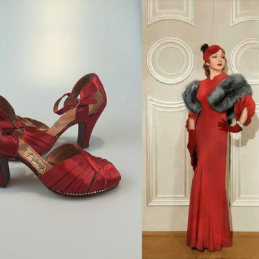 The Colbert Way - Vintage 1930s NOS Red Silk Satin Evening Open Vamp Heels Pumps Shoes - 6.5 by RoadsLessTravelled2