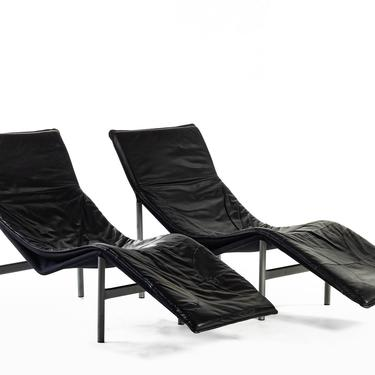 """Vintage Modern """"Skye"""" Leather Chaise Lounge Chairs by Tord Björklund, Sweden by ABTModern"""