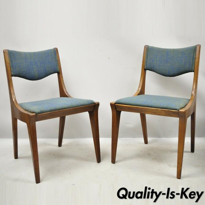Drexel Dateline John Van Koert Walnut Mid Century Modern Dining Chairs - a Pair