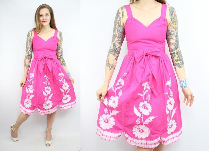 7f3350facc2d Vintage 60's Inspired Hot Pink Hawaiian Sun Dress / 1960's ...