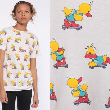 Skateboarding Duck Shirt 80s Cute Kawaii Top Skateboard Cartoon TShirt Vintage Retro T Shirt Graphic Tee Slouchy 1980s Extra Small xs xxs by ShopExile