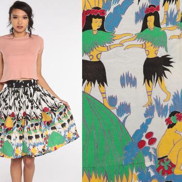 50s Circle Skirt Hawaiian Hula Dancer Skirt High Waisted Midi 1950s Cotton Pin Up Novelty Vintage Pinup Tropical Extra Small xs 24 by ShopExile