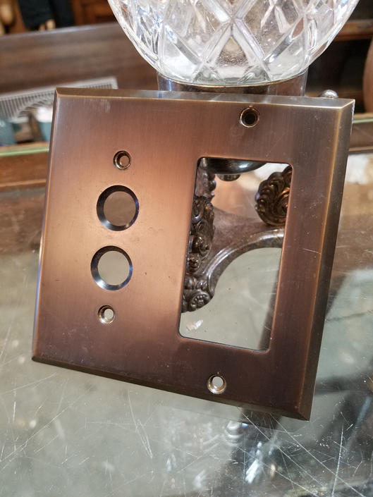 Rejuvenation Lewis Push Button GFCI Switchplate in Oil Rubbed Bronze