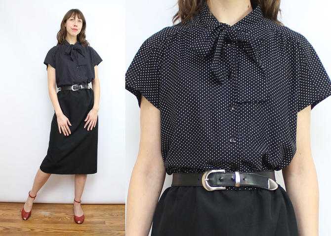 Vintage 70's Black and White Polka Dot Pussy Bow Secretary Dress / 1970's Neck Tie Dress / Women's Size Large - XL by RubyThreadsVintage