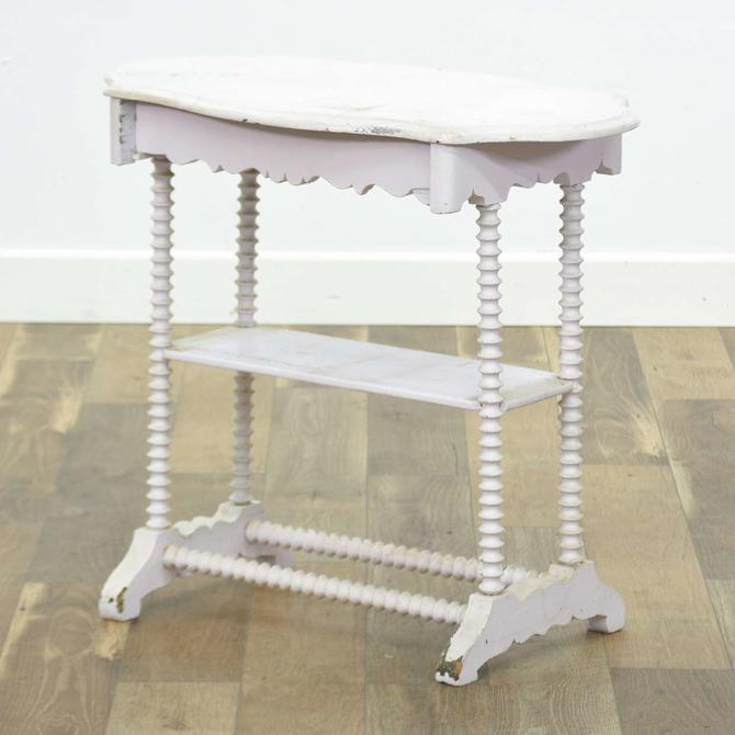 White Cottage Chic Console Table W Serpentine Apron