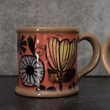 Large coffee mug, Pottery mug with flowers, 16oz mug, best friend gift by claylicious