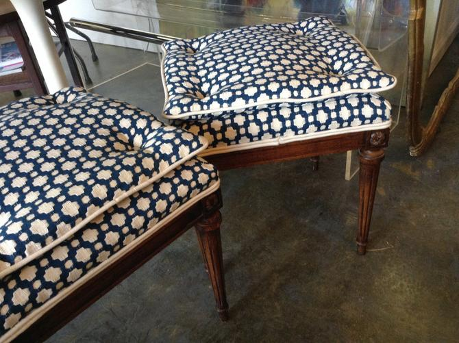 SOLD - Pair of French tufted foot stools