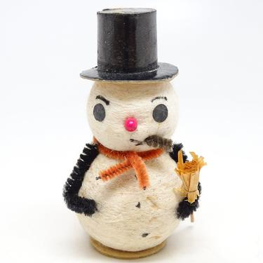Vintage Spun Cotton Snowman with Broom for Christmas, Black Top Hat, Broom, Retro Holiday Decor by exploremag