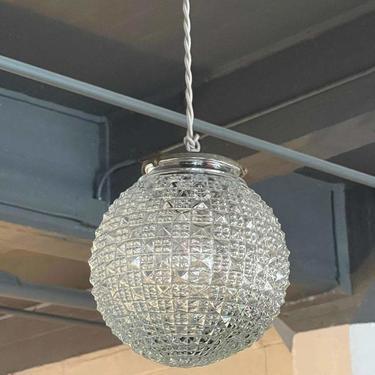 Midcentury Cut Glass Globe Pendant Light