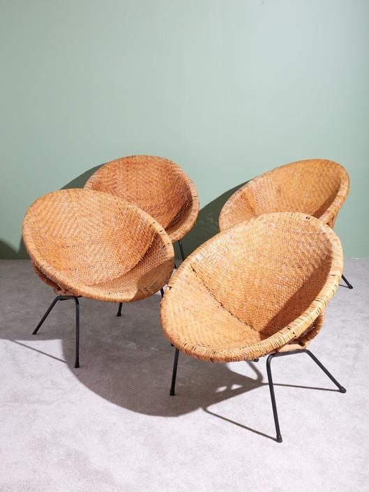 Wicker and Iron Scoop Bucket Chairs