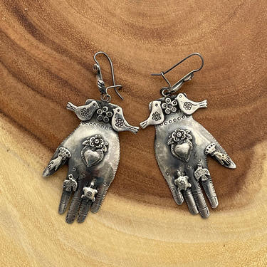 MILAGROS Federico Jimenez Mexican Silver Earrings | Large Milagro Charm Figural Protective Hands | Oaxaca Mexico, Frida Kahlo Style Jewelry by lovestreetsf