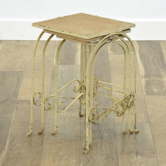 Set Of 3 White Washed Scrolled Metal Nesting End Tables