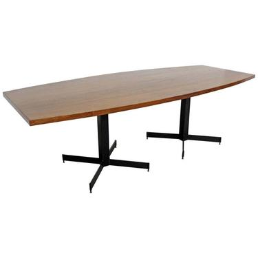 Mid-Century Modern Large Walnut Surfboard Conference/Dining Table by AnnexMarketplace