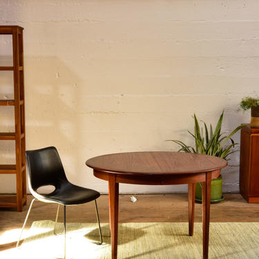 Danish Round Teak Table with One Large Leaf