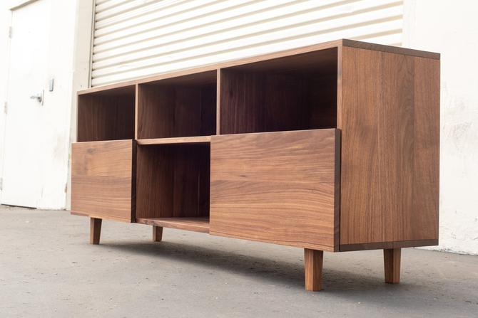 Waverly Media Console | Mid-Century Credenza Console TV Stand Solid Walnut by ADCOWoodWorks