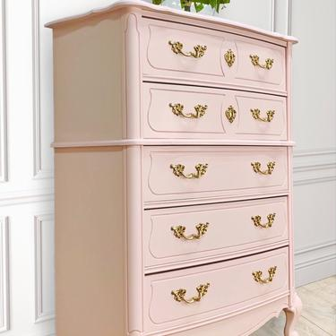 Beautiful French Bedroom Set, Vintage, Pink, Hand Painted, French Provincial. by LaVidaBellaDesign