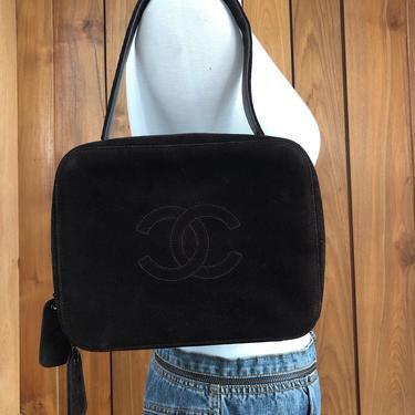Vintage 90s CHANEL Huge CC Monogram Logo Suede Dk Brown Leather Top handle Satchel Shoulder Bag Tote Clutch by MoonStoneVintageLA