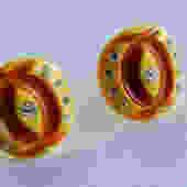 1950's Carved Lucite Rhinestone Earrings by LegendaryBeast
