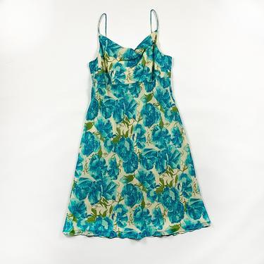 90s Blue Floral Silk Spaghetti Strap Tank Dress / Cowl Neck / Size 10 / Roses / Medium / Fluttery / y2k / 00s / Millenium / Watercolor / by shoptrashdotnet