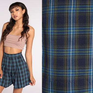 Pleated Plaid Shorts 60s Shorts Wide Leg Shorts Blue High Waisted Retro 1960s Vintage 50s Checkered Extra Small xs by ShopExile