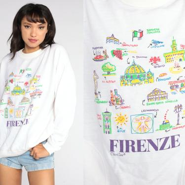 Florence Italy Shirt 80s Firenze Sweatshirt Italy Shirt Slouchy Pullover 1980s Graphic Sweatshirt Italian White Vintage Large by ShopExile