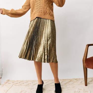 Saint Laurent Metallic Pleated Midi Skirt, Size 38