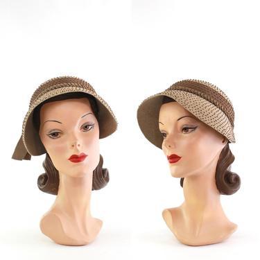 1950s Beaded Bonnet - 1950s Tan Bonnet - 1950s Cloche Bonnet Hat - 1950s Cloche - 1950s Brown Hat - 1950s Womens Hat - 1950s Dish Hat by VeraciousVintageCo