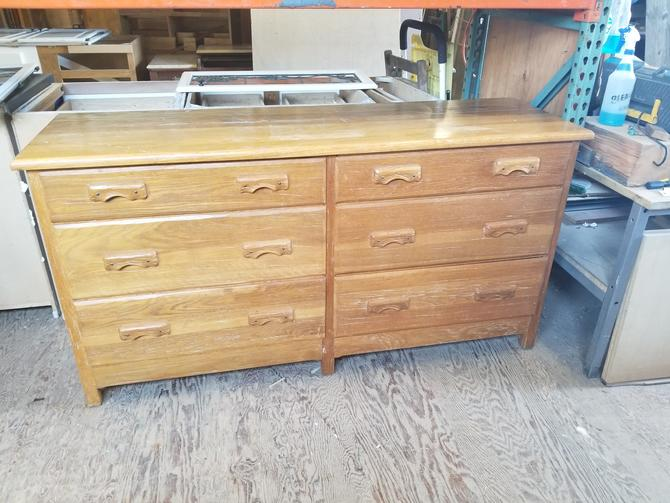"68"" W by 20.5"" D by 35.75"" H Atomic Ranch Style Dresser with 6 wide drawers"