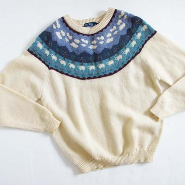Vintage Sheep Print Wool Pullover Sweater M L - 80s Woolrich Cottagecore Knit Jumper - Novelty Print Sweater - - Fairisle Sweater by MILKTEETHS