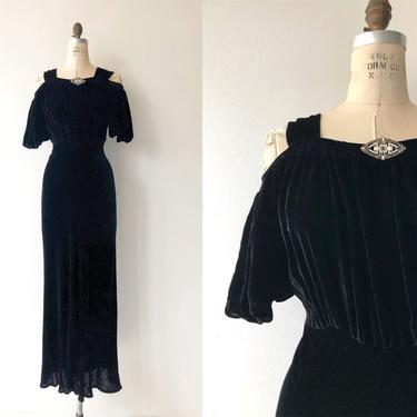Aphaea silk velvet gown   1930s silk velvet dress   long 30s dress by DEARGOLDEN
