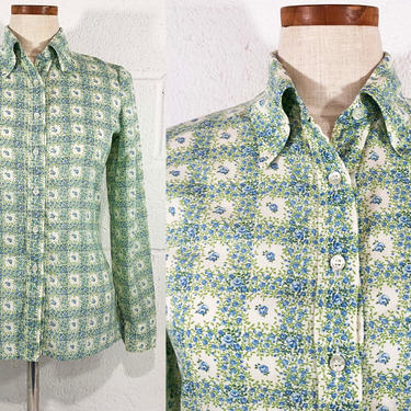 True Vintage Lanz Originals Floral Button Front Shirt Blue White Green 1960s 60s Long Sleeve XS Small Medium by CheckEngineVintage