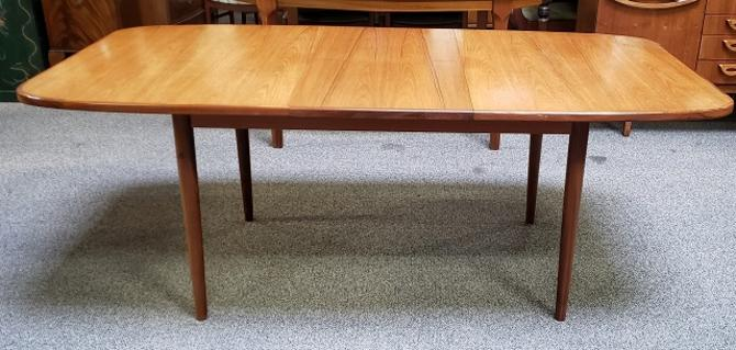 Item #T54 Vintage Teak Dining Table w/ Butterfly Leaf c.1960s