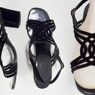 VINTAGE 60s 70s Chunky Grandma Shoes | Strappy Block Heel Sandals | Velvet Slingback Heels | 1970s Retro Twiggy Shoes | Fascinators 6.5 by IntrigueU4Ever