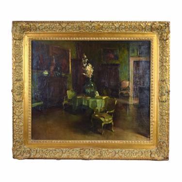 Antique 19th Century Impressionist Oil Painting Gilded Age Interior by PrairielandArt