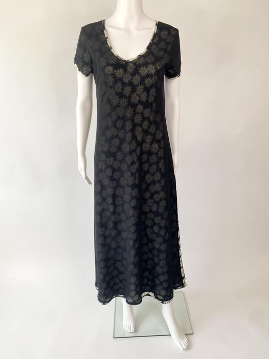 1990's Express Daisy Print Dress with Sheer Overlay