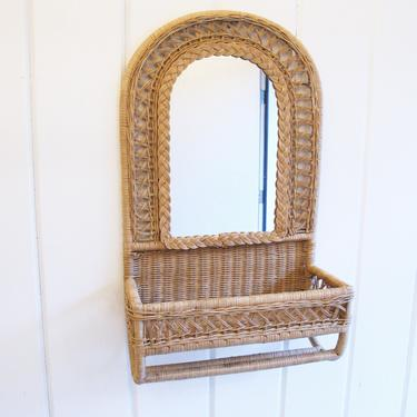 Vintage Curved Wicker Hanging Mirror with Woven Basket and Hanging Rack by PortlandRevibe