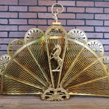 Brass Hollywood Regency Ornate Unicorn Peacock Fireplace Fan Collapsible Screen by RedsRustyRelics